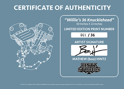 Willie's 36 Knuckle COA